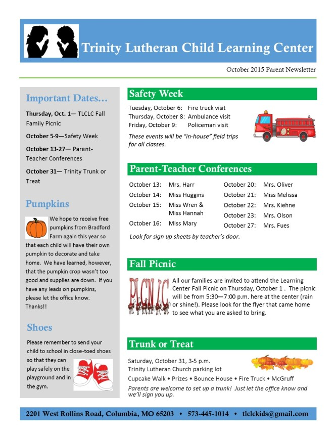 October 2015 Newsletter