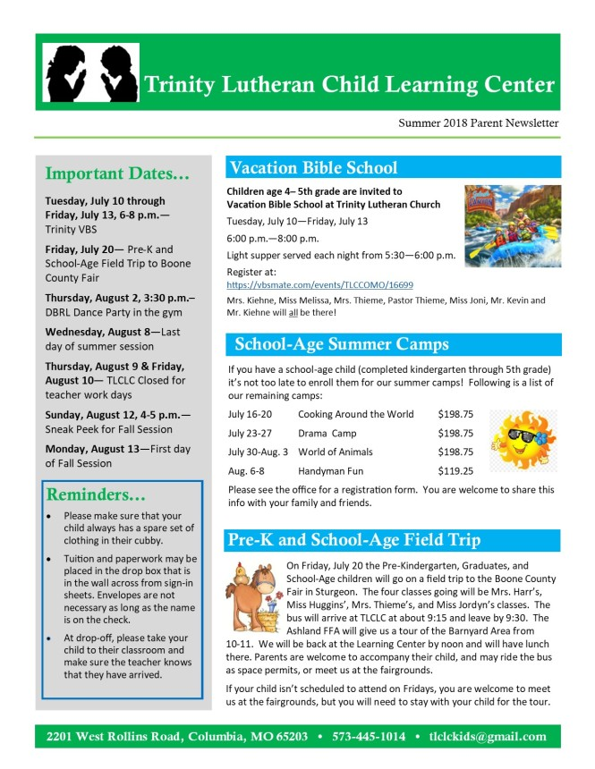 Summer 2018 Newsletter pg.1