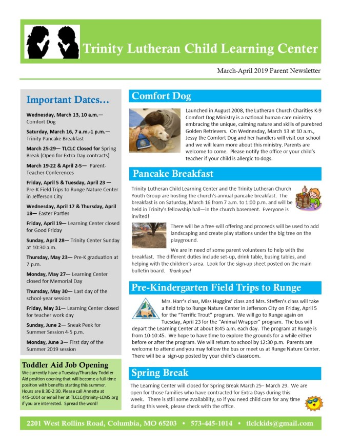 MarchApril 2019 Newsletter pg.1