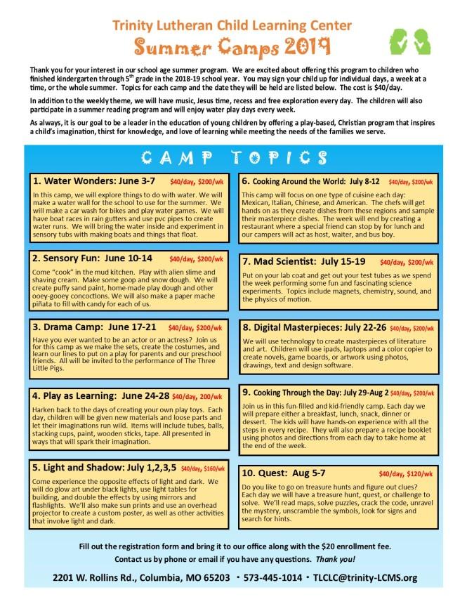 Summer 2019 Camps-topics