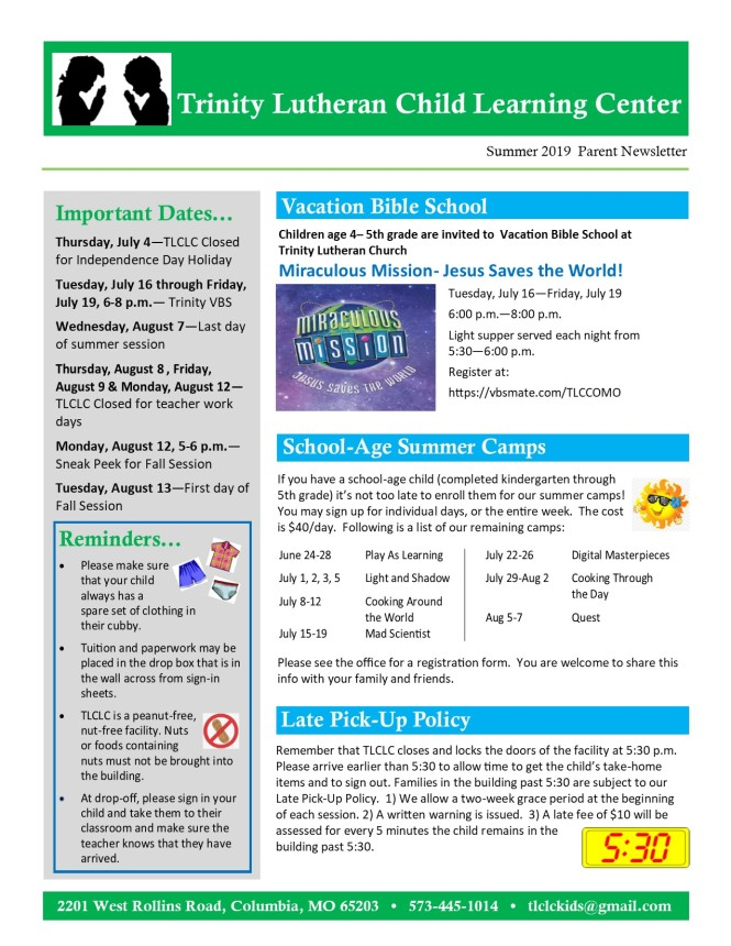 Summer 2019 Newsletter pg 1