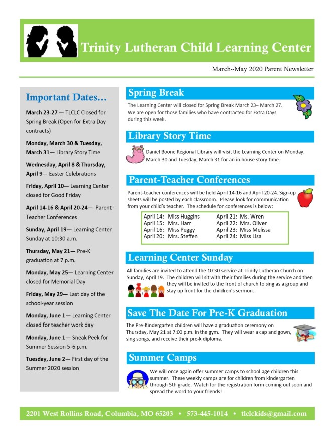 MarchMay 2020 Newsletter pg1